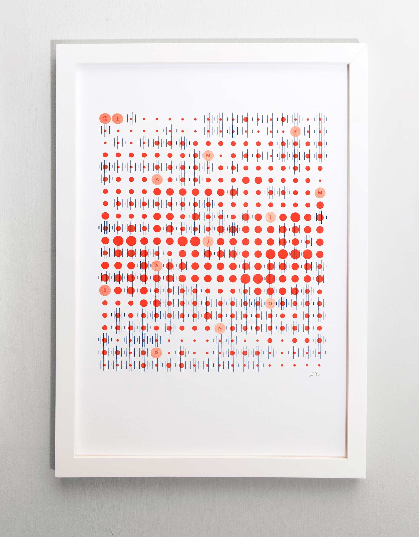 Framed A3 data-visualisation print of Amsterdam weather pattern in blue and red grid formation on white paper