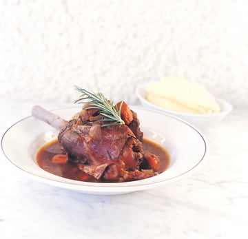 LAMB SHANK WITH RED WINE & ROSEMARY JUS