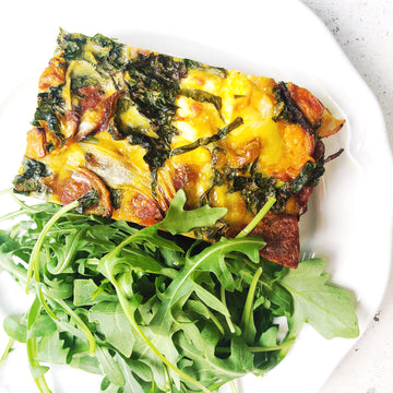 BAKED PUMPKIN FRITTATA WITH CHORIZO, KALE & GOAT'S CHEESE