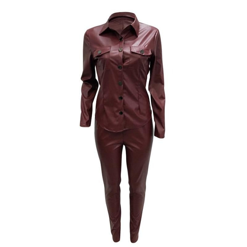 2 Pcs Set PU Leather Tracksuit