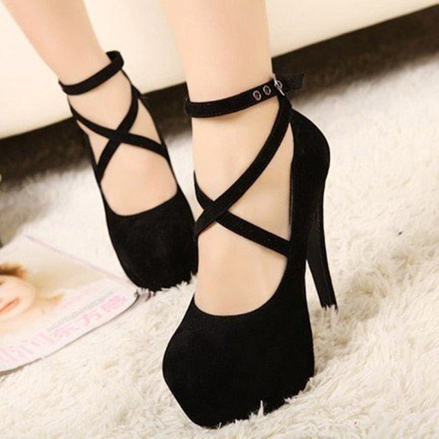 Korean version of the new ultra high heel stiletto shoes XL fashion cross strap waterproof platform women's single product trend