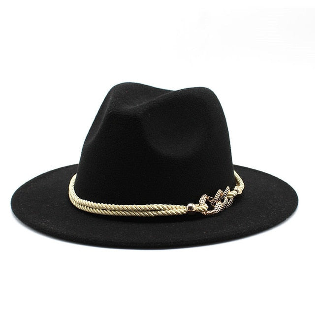 Black/white Wide Brim Simple Church Derby Top Hat Panama Solid Felt Fedoras Hat for Men Women artificial wool Blend Jazz Cap