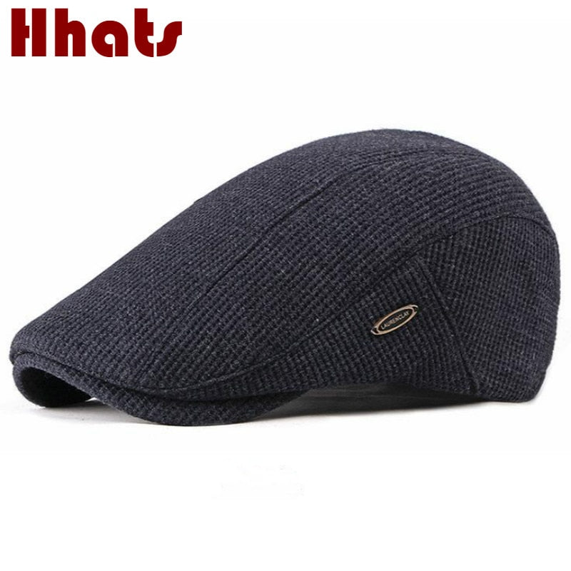 Thick Warm Knitted Flat Cap For Men Fleece Liner Autumn Winter Beret Hat Classic Vintage Advanced Flat Ivy Cap Newsboy Hat