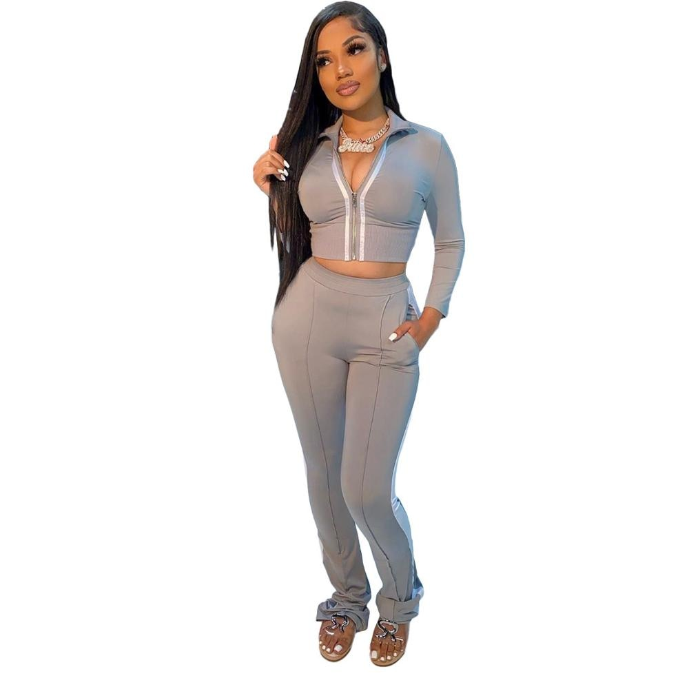 New Product Two Piece Set Front Zipper Long-Sleeve Jacket Top + High Waist Stacked Legging Pants Fall Winter Women Clothing