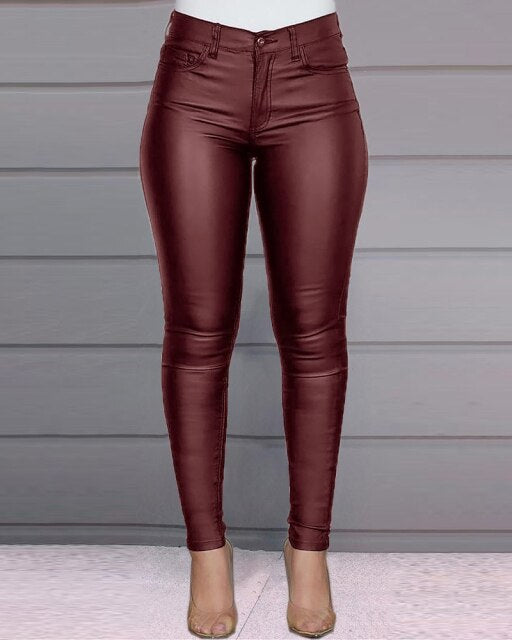 2020 autumn and winter new products pure color PU leather pants casual sexy feet pants women trousers foreign trade