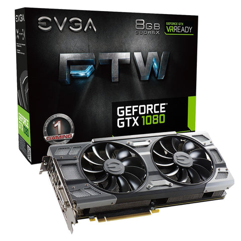 EVGA GeForce GTX 1080 FTW GAMING ACX 3.0, 8GB GDDR5X, RGB LED, 10CM FAN, 10 Power Phases, DX12 OSD Support (PXOC) GPU
