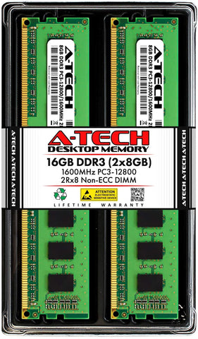 A-TECH 16GB RAM Kit (2x8GB) DDR3 PC3 12800 | ECC Unbuffered