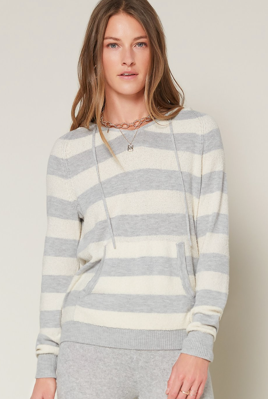 Current Air Soft Striped Hooded Sweater