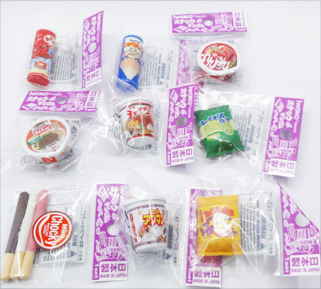 Cute (Cup noodle, snack, potato chips) rubbers/erasers collection
