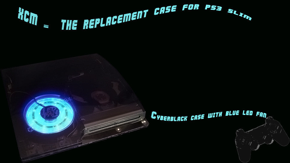 Cyberblack case with LED fan bundle- for PS 3 slim console