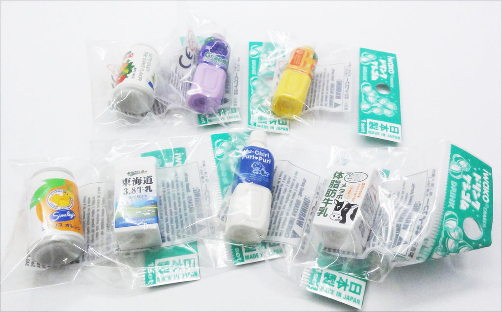 Cute (soft drink, milk) rubbers/erasers collection