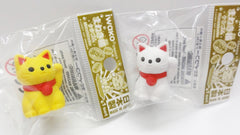 Cute beckoning cat (Maneki Neko) rubbers/erasers collection