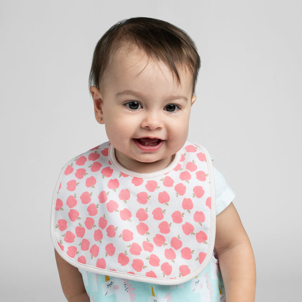 Unicorns and Apples Organic Reversible Bib