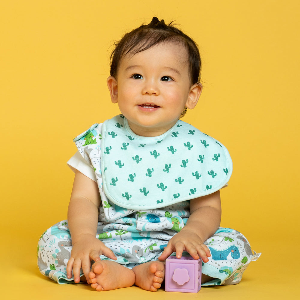 Dino and Cactus Organic Reversible Bib