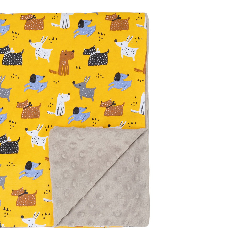 Colourful dogs and cloud grey minky blanket