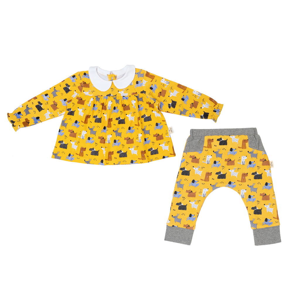 Colourful Dogs Teatime Blouse and Pants Set
