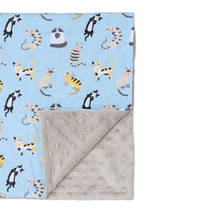 Funny cats and silver grey minky blanket