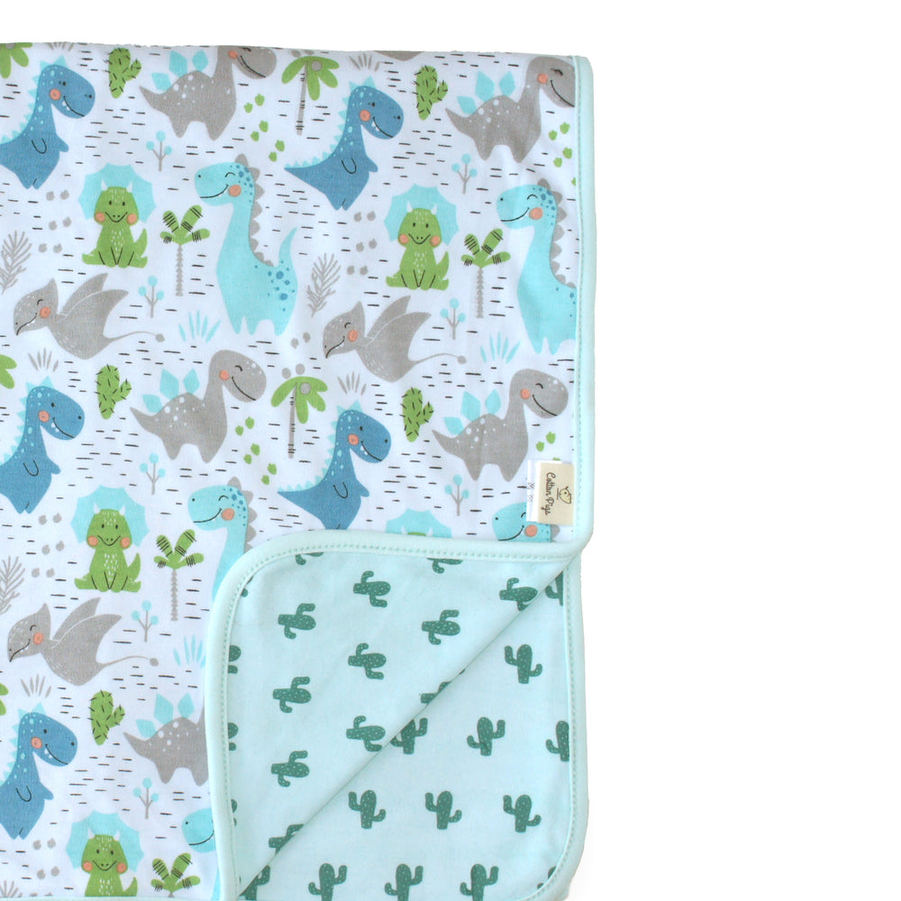 Dino and Cactus Organic Reversible Blanket