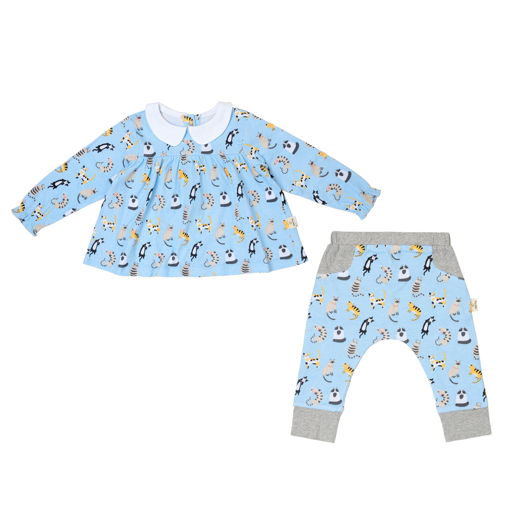 Funny Cats Teatime Blouse and Pants Set