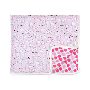 Giraffes and Strawberries Organic Reversible Blanket