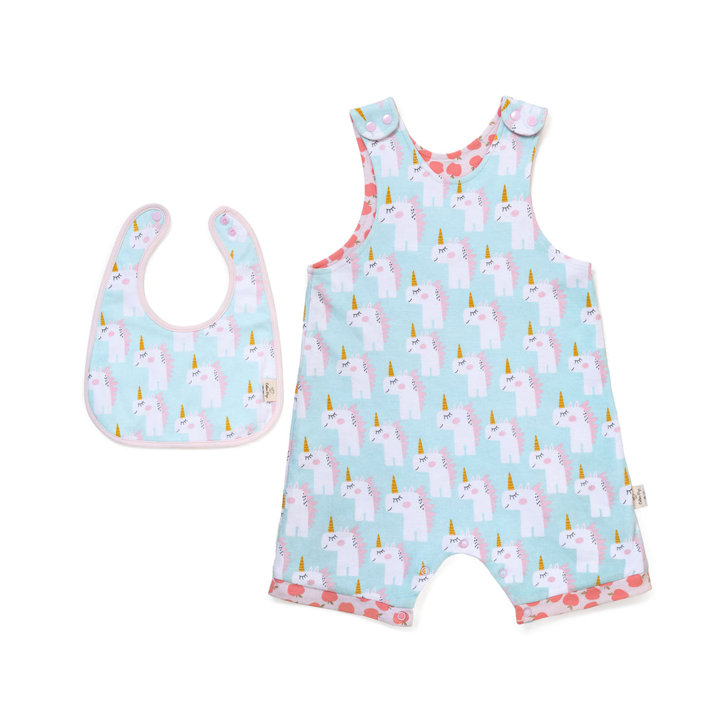 Unicorn and Apples Bib Set