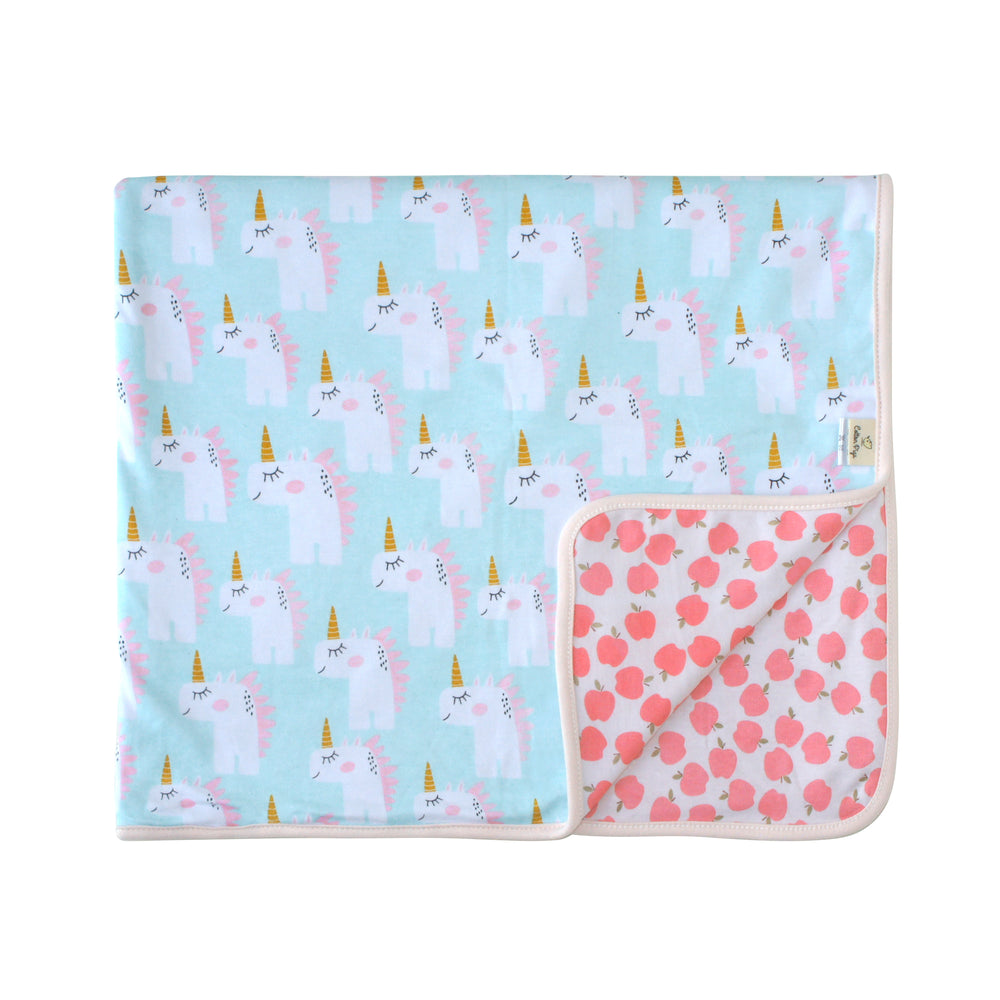 Unicorns and Apples Organic Reversible Blanket