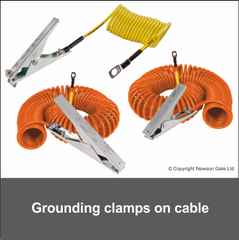 Grounding clamps on cable