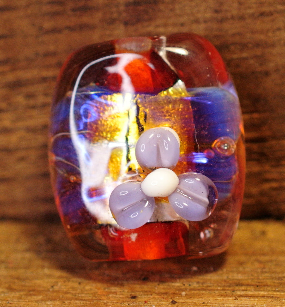 Handmade Lampwork Glass Focal Bead - Pink/Orange Silver Glass (4))