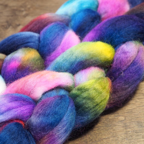 Hand Dyed Corriedale Wool Top for Spinning or Felting - 'Cosmos'