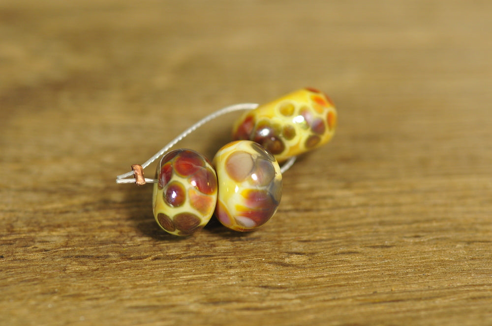Handmade Lampwork Glass Beads - Ivory / Multicoloured Speckles (1804)