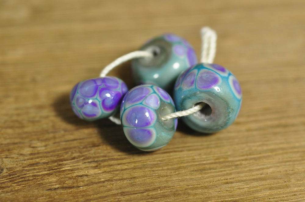 Handmade Lampwork Glass Beads - Aqua with Purple Speckles(1808)