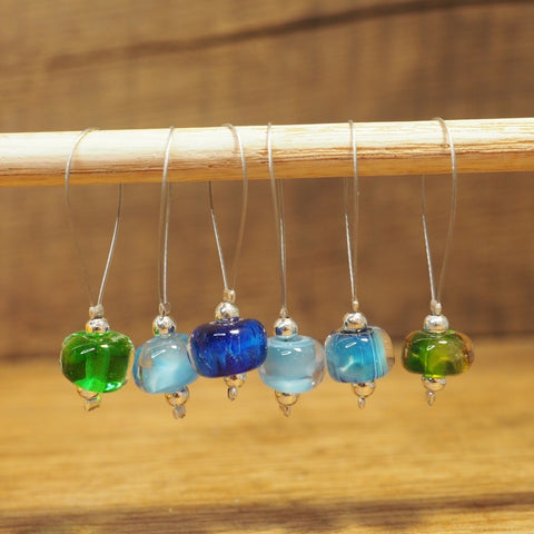 Knitters' Lampwork Stitch Marker Set - Blue and Green