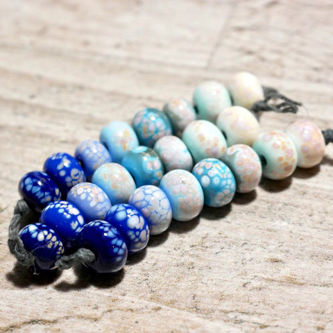 Handmade Lampwork Glass Beads - Blue Gradient