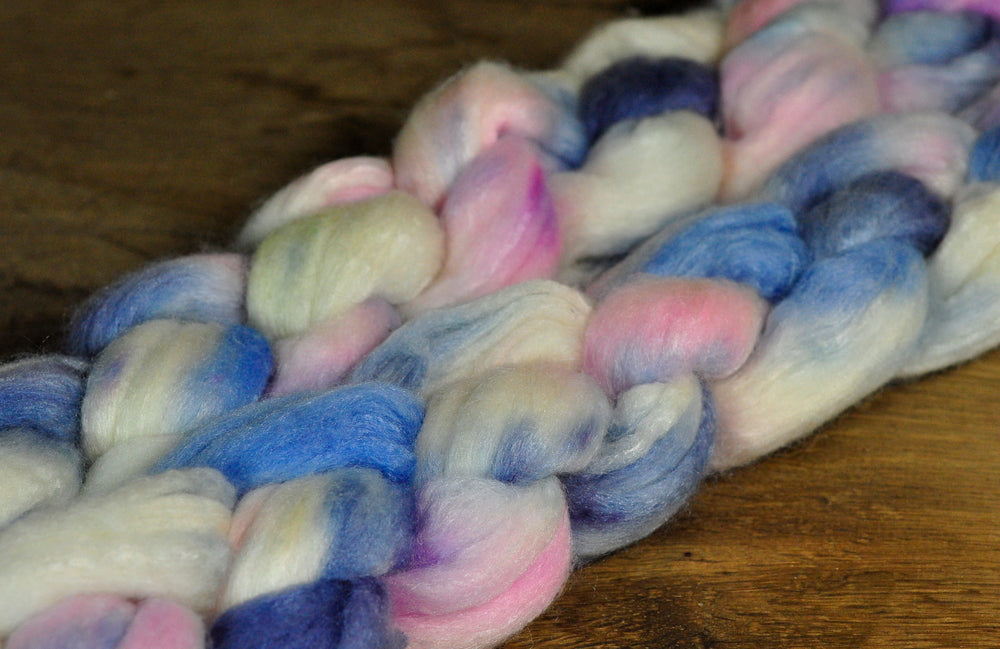 Merino/Silk Top (50/50) for Hand Spinning - 'Frosty'