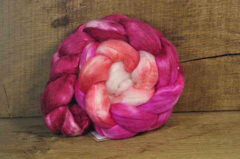Merino/Silk Top (50/50) for Hand Spinning - 'Rose Gradient'