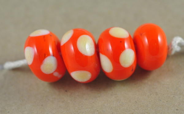 Handmade Glass Beads - Orange Dotty