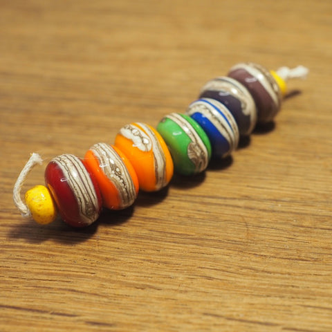 Handmade Lampwork Glass Beads - Rainbow Stripe
