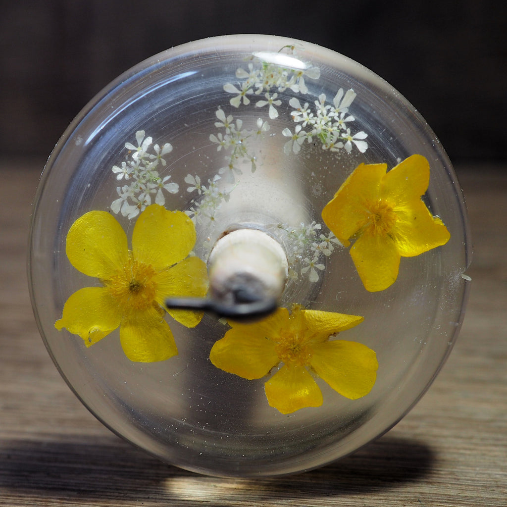 New Design Botanical Top Whorl Resin Drop Spindle - Buttercups
