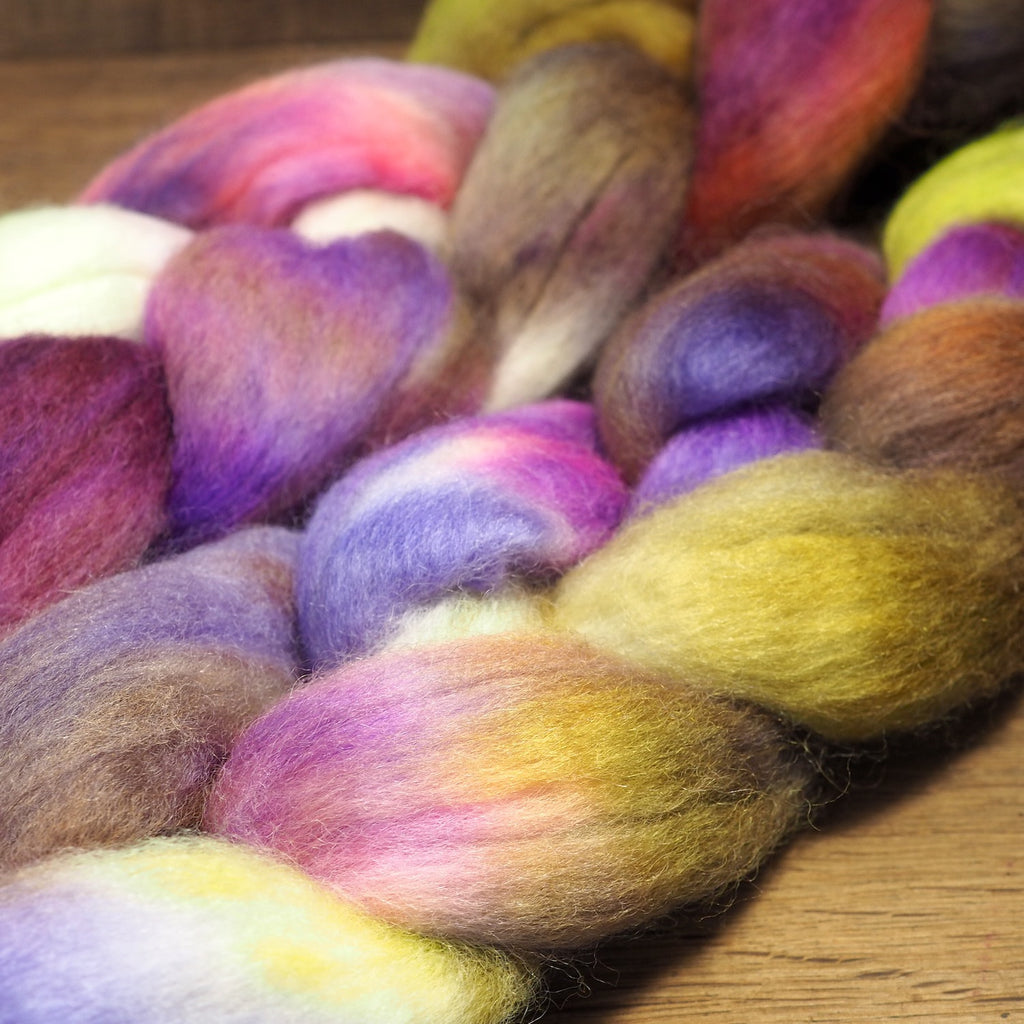 Hand Dyed Corriedale Wool Top for Spinning or Felting - 'Vintage Violets'