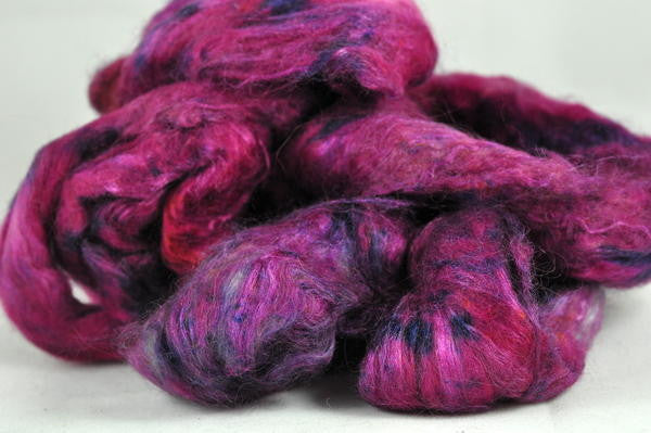 Hand Dyed Camel Down / Silk Top - 'Plum' (1), 60g