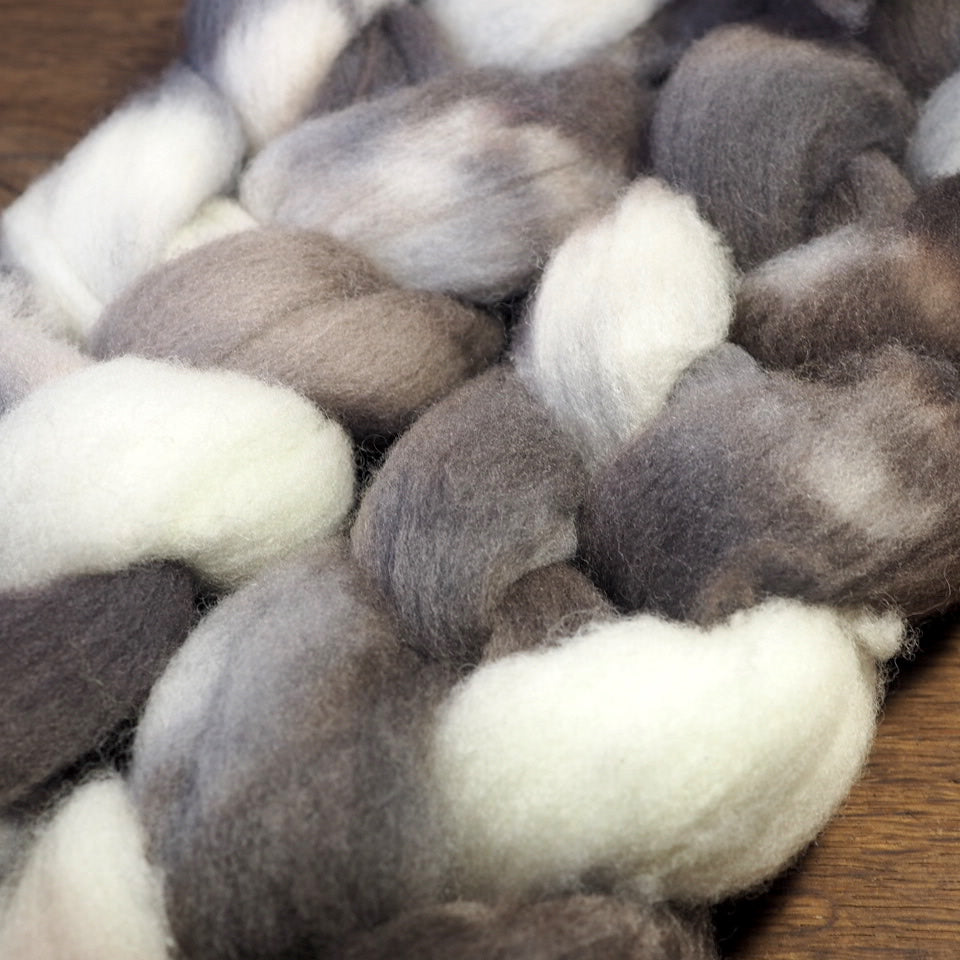 Southdown Wool Top for Hand Spinning and Felting - 'Owl'