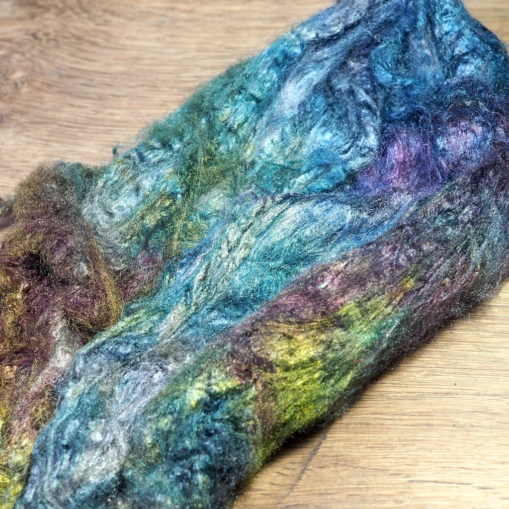 Dyed Tussah Silk Top - 'Algae', 20g