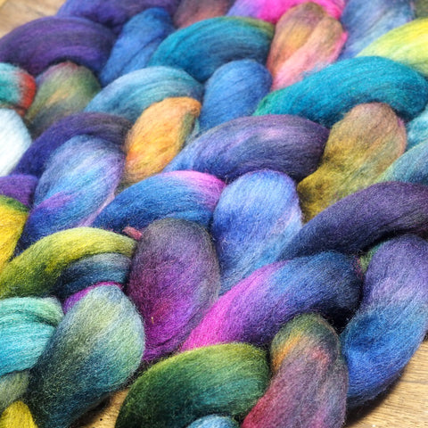 100g Hand Dyed Merino Wool Top for Handspinning or Felting - 'Cosmos'