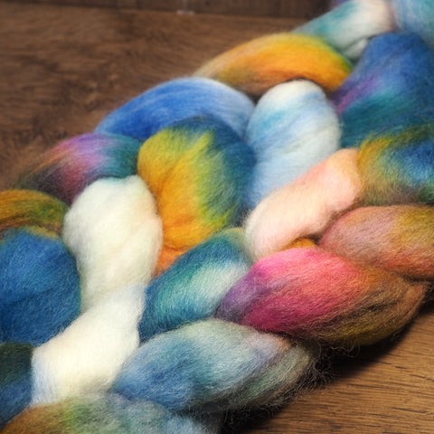 Hand Dyed Corriedale Wool Top for Spinning or Felting - 'Kingfisher'