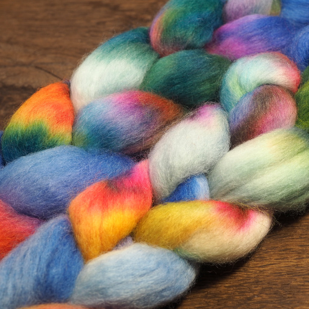 Hand Dyed Corriedale Wool Top for Spinning or Felting - 'Spring Flowers'