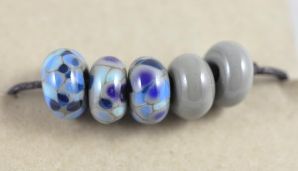 Handmade Glass Beads - Grey / Blue Speckled