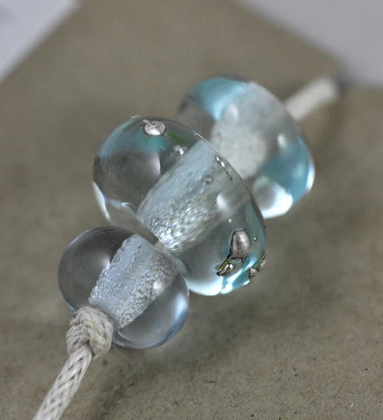Handmade Glass Beads - Blue / Silver Dots
