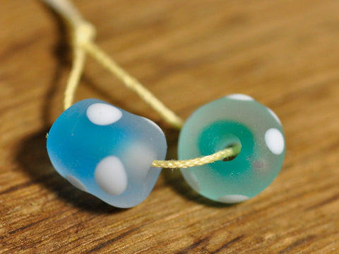 Handmade Lampwork Glass Beads - Aqua Duo