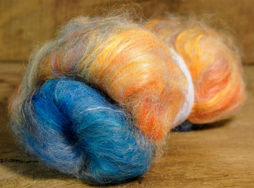 Carded Wool/Luxury Fibre Mystery Batt 50g - 'August'
