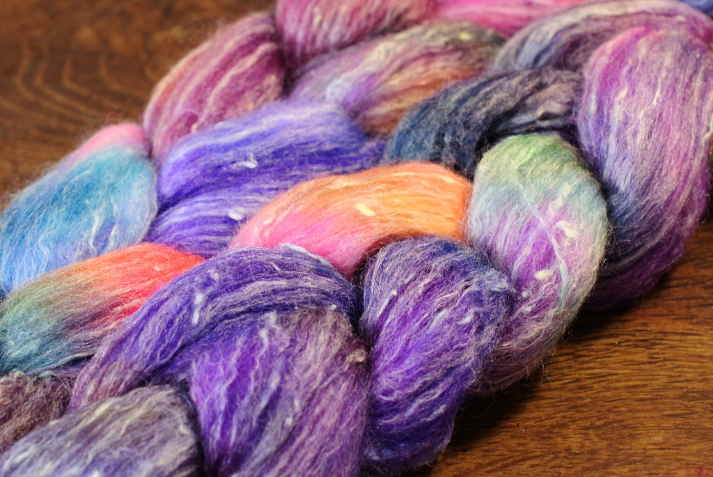 Tweedy Merino/Bamboo Top with Neps for Hand Spinning - 'Violets'